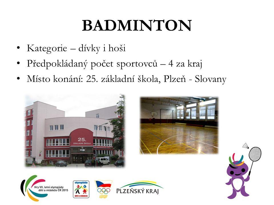 BADMINTON Kategorie – dívky i hoši Předpokládaný počet sportovců – 4 za kraj Místo konání: 25. základní škola, Plzeň - Slovany