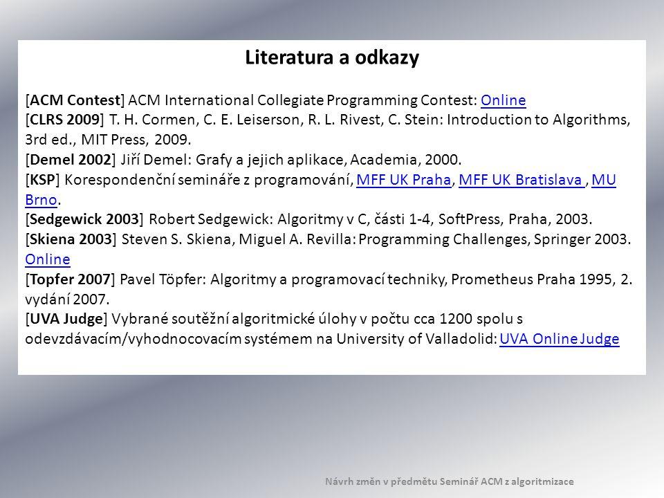 Literatura a odkazy [ACM Contest] ACM International Collegiate Programming Contest: OnlineOnline [CLRS 2009] T. H. Cormen, C. E. Leiserson, R. L. Rive