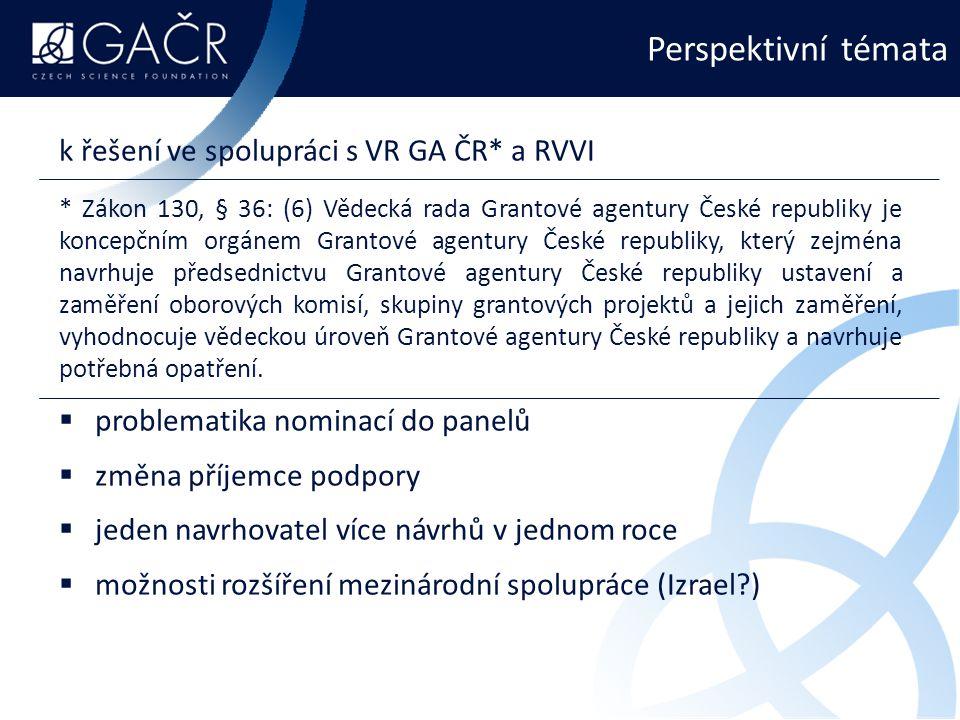 Perspektivní témata k řešení ve spolupráci s VR GA ČR* a RVVI * Zákon 130, § 36: (6) Vědecká rada Grantové agentury České republiky je koncepčním orgánem Grantové agentury České republiky, který zejména navrhuje předsednictvu Grantové agentury České republiky ustavení a zaměření oborových komisí, skupiny grantových projektů a jejich zaměření, vyhodnocuje vědeckou úroveň Grantové agentury České republiky a navrhuje potřebná opatření.
