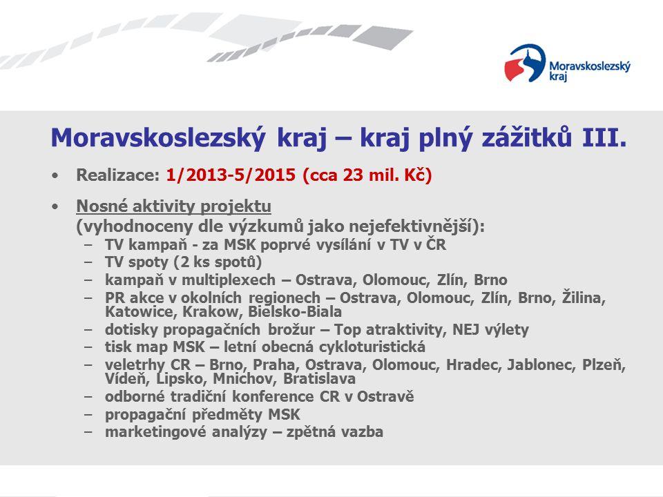 Moravskoslezský kraj – kraj plný zážitků III. Realizace: 1/2013-5/2015 (cca 23 mil. Kč) Nosné aktivity projektu (vyhodnoceny dle výzkumů jako nejefekt