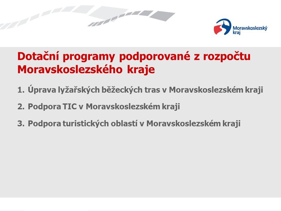 Dotační programy podporované z rozpočtu Moravskoslezského kraje 1.Úprava lyžařských běžeckých tras v Moravskoslezském kraji 2.Podpora TIC v Moravskosl