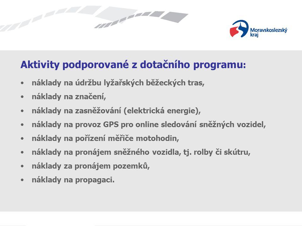 Aktivity podporované z dotačního programu : náklady na údržbu lyžařských běžeckých tras, náklady na značení, náklady na zasněžování (elektrická energi
