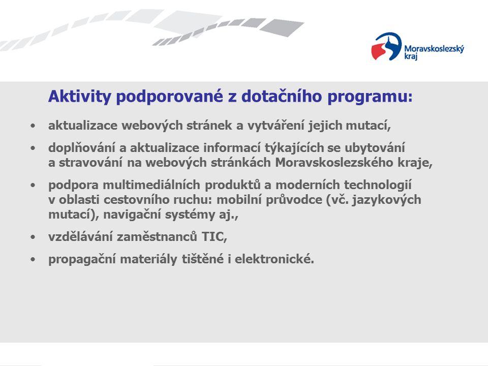 Aktivity podporované z dotačního programu : aktualizace webových stránek a vytváření jejich mutací, doplňování a aktualizace informací týkajících se u
