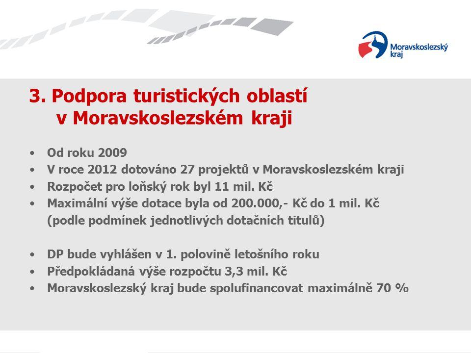 3. Podpora turistických oblastí v Moravskoslezském kraji Od roku 2009 V roce 2012 dotováno 27 projektů v Moravskoslezském kraji Rozpočet pro loňský ro