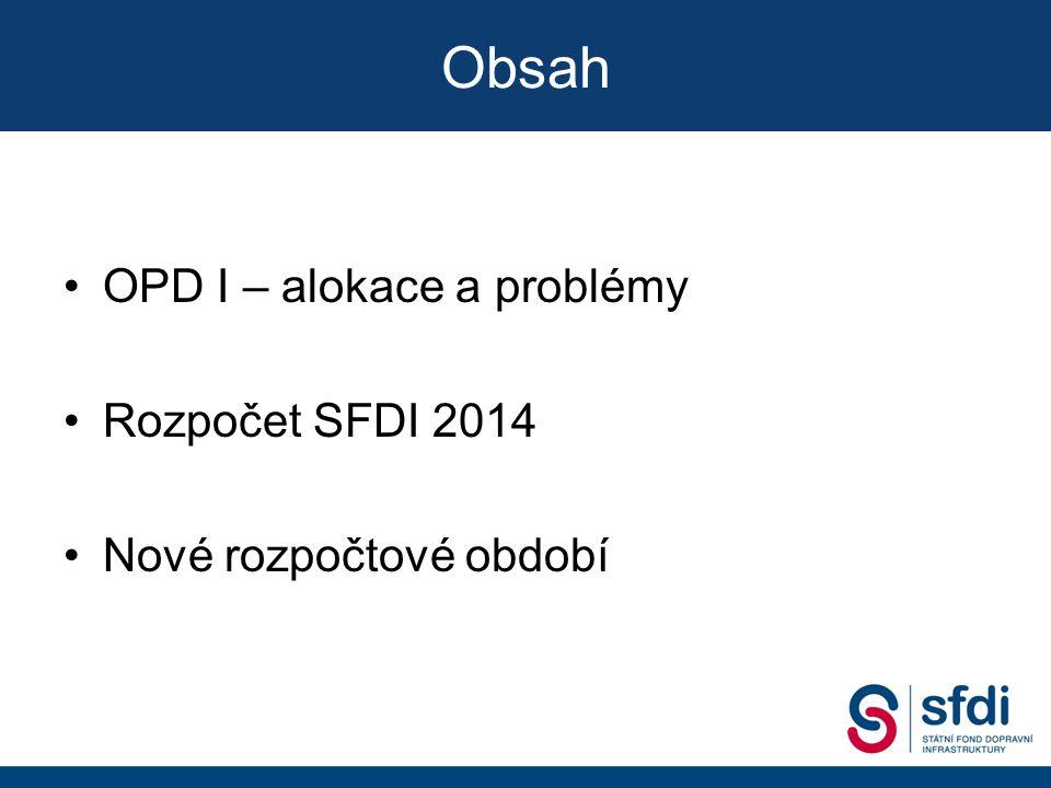 OPD I – alokace a problémy Rozpočet SFDI 2014 Nové rozpočtové období Obsah