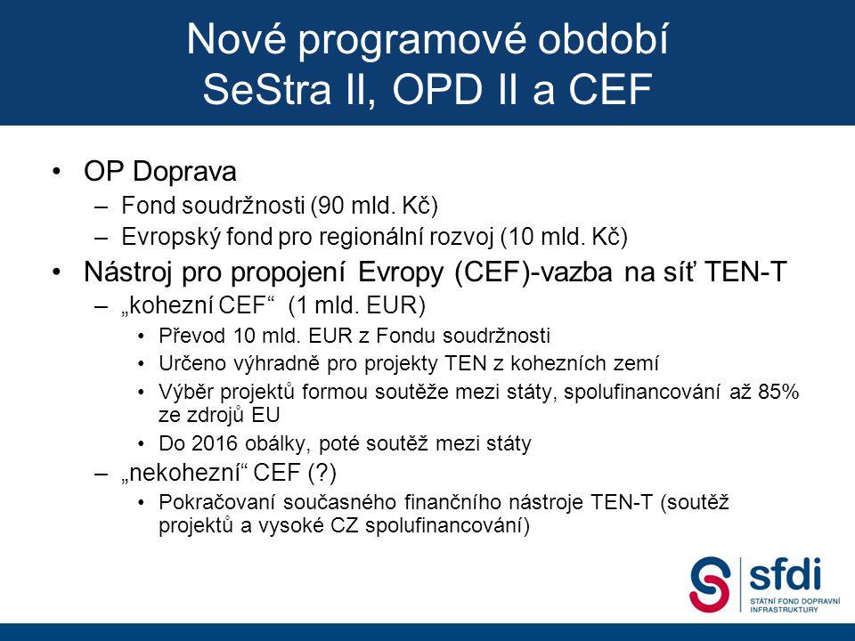 Prioritní osa (PO)Specifický cíl (SC) PO1 - Infrastruktura pro železniční a další udržitelnou dopravu 1.1 - Výstavba a modernizace železničních tratí 1.2 - Interoperabilita a nové technologie (včetně TEN- T) 1.3 - Výstavba a modernizace vnitrozemských vodních cest v hlavní síti TEN-T 1.4 - Multimodální doprava 1.5 - Infrastruktura drážních systémů městské a příměstské dopravy 1.6 - Environmentálně čistý dopravní park PO 2 - Silniční infrastruktura na síti TEN-T 2.1 - Silniční infrastruktura sítě TEN-T (výstavba a modernizace silnic a dálnic, ITS a nové technologie) 2.2 - Podpora rozvoje sítě napájecích stanic alternativních energií na silniční síti PO 3 - Silniční infrastruktura mimo síť TEN-T 3.1 - silnice a dálnice mimo síť TEN-T ve vlastnictví státu Nové programové období SeStra II, OPD II a CEF