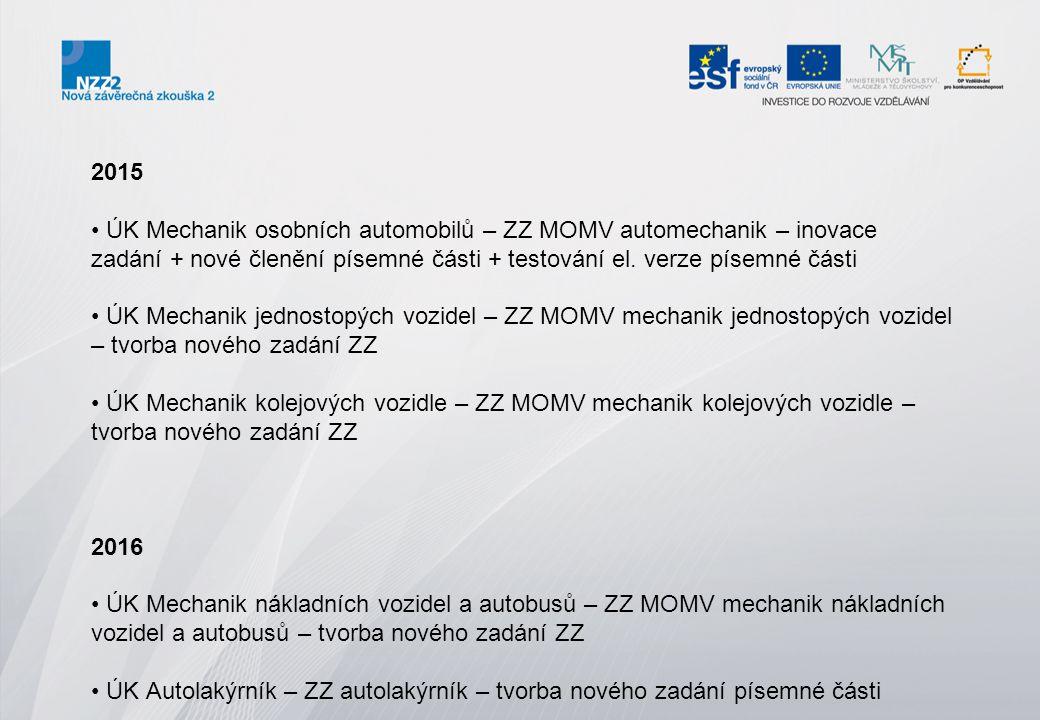 2015 ÚK Mechanik osobních automobilů – ZZ MOMV automechanik – inovace zadání + nové členění písemné části + testování el. verze písemné části ÚK Mecha