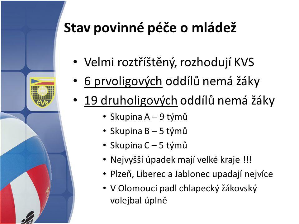Stav povinné péče o mládež Velmi roztříštěný, rozhodují KVS 6 prvoligových oddílů nemá žáky 19 druholigových oddílů nemá žáky Skupina A – 9 týmů Skupi