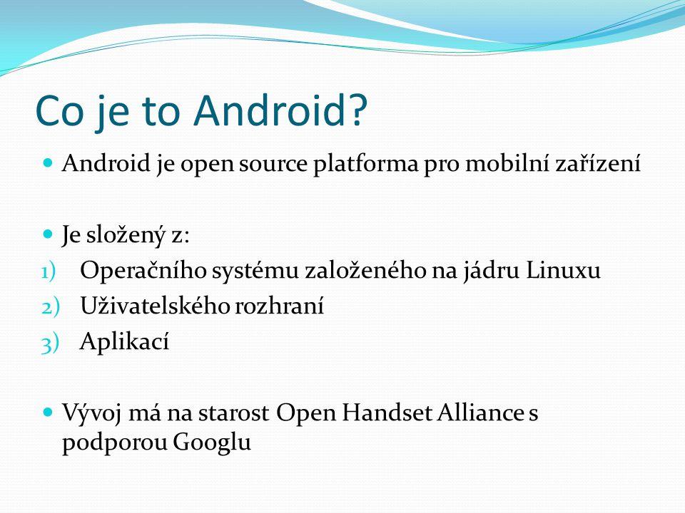 Zastoupení na trhu Platforma Android je nejpoužívanější platforma pro mobilní zařízení (chytré telefony, tablety, GPS,…) Podíl OS chytrých telefonů na trhu (2014): Android85% iOS11% Windows Phone2% Blackberry1%