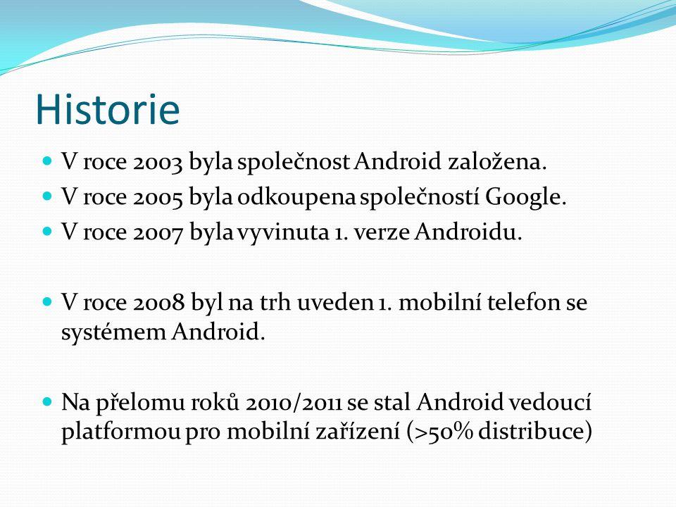 Verze Androidu V roce 2009 byly představeny tyto verze: 1.5 (Cupcake), 1.6 (Donut), 2.0/2.1 (Eclair) Nové funkce: Možnost nahrávat a sledovat videa z kamery Funkce kopírovat a vložit Bluetooth Podpora pro více velikostí displejů