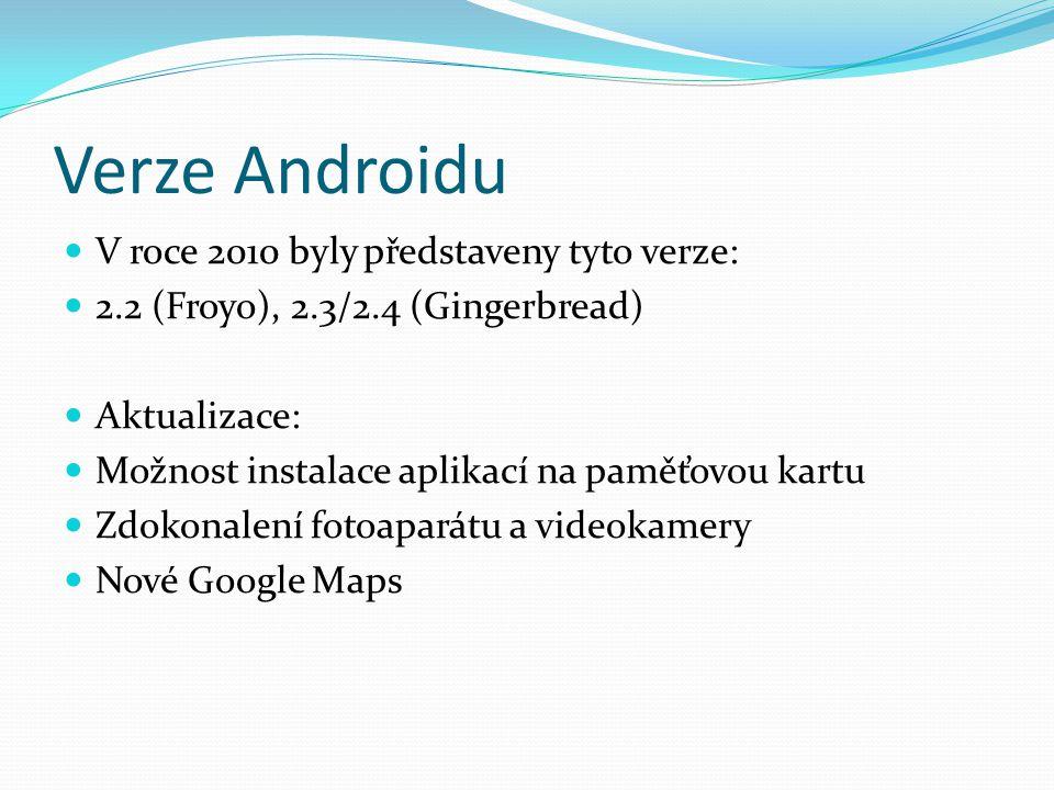 Verze Androidu V roce 2010 byly představeny tyto verze: 2.2 (Froyo), 2.3/2.4 (Gingerbread) Aktualizace: Možnost instalace aplikací na paměťovou kartu Zdokonalení fotoaparátu a videokamery Nové Google Maps