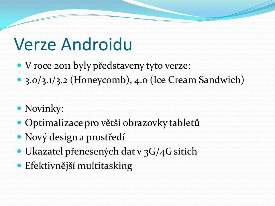 Verze Androidu V roce 2011 byly představeny tyto verze: 3.0/3.1/3.2 (Honeycomb), 4.0 (Ice Cream Sandwich) Novinky: Optimalizace pro větší obrazovky tabletů Nový design a prostředí Ukazatel přenesených dat v 3G/4G sítích Efektivnější multitasking