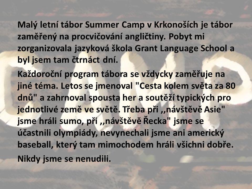 Malý letní tábor Summer Camp v Krkonoších je tábor zaměřený na procvičování angličtiny.