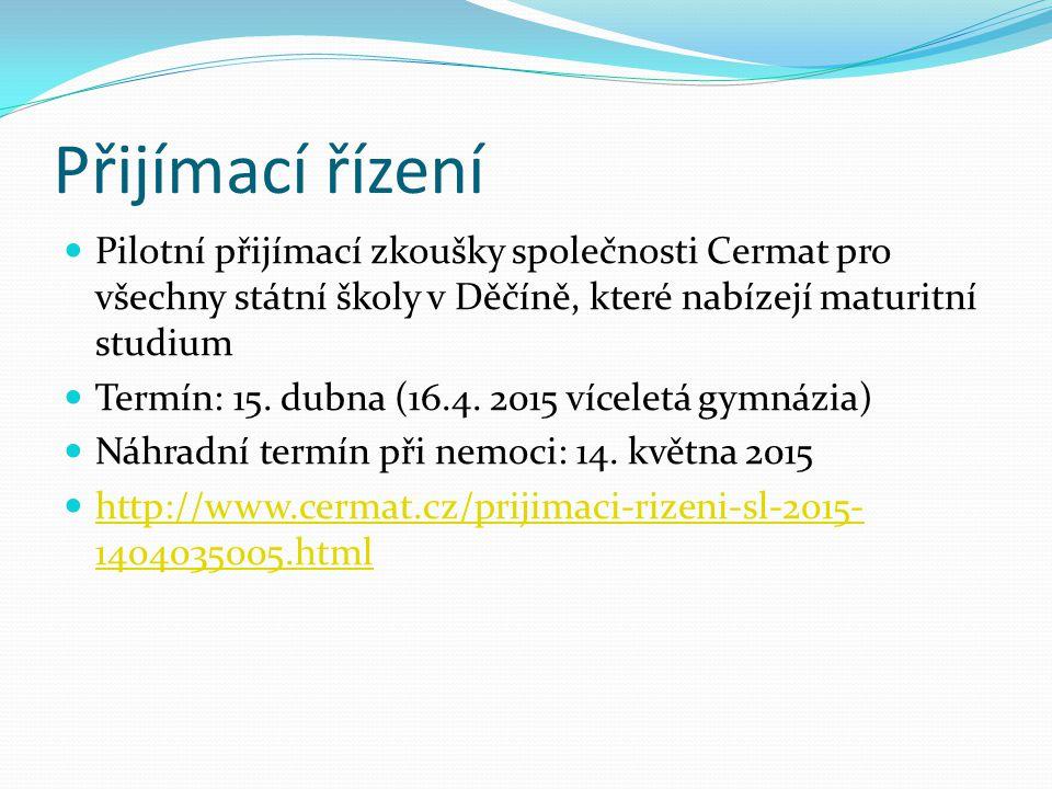 Přijímací řízení Pilotní přijímací zkoušky společnosti Cermat pro všechny státní školy v Děčíně, které nabízejí maturitní studium Termín: 15. dubna (1