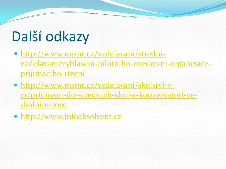 Další odkazy http://www.msmt.cz/vzdelavani/stredni- vzdelavani/vyhlaseni-pilotniho-overovani-organizace- prijimaciho-rizeni http://www.msmt.cz/vzdelavani/stredni- vzdelavani/vyhlaseni-pilotniho-overovani-organizace- prijimaciho-rizeni http://www.msmt.cz/vzdelavani/skolstvi-v- cr/prijimani-do-strednich-skol-a-konzervatori-ve- skolnim-roce http://www.msmt.cz/vzdelavani/skolstvi-v- cr/prijimani-do-strednich-skol-a-konzervatori-ve- skolnim-roce http://www.infoabsolvent.cz