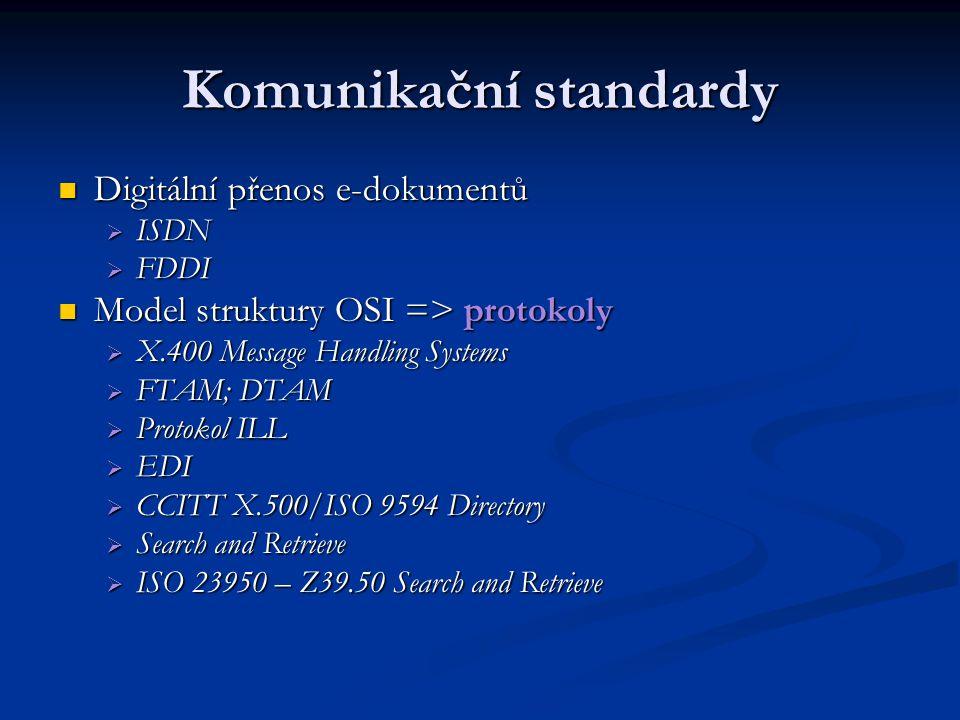Komunikační standardy Digitální přenos e-dokumentů Digitální přenos e-dokumentů  ISDN  FDDI Model struktury OSI => protokoly Model struktury OSI =>