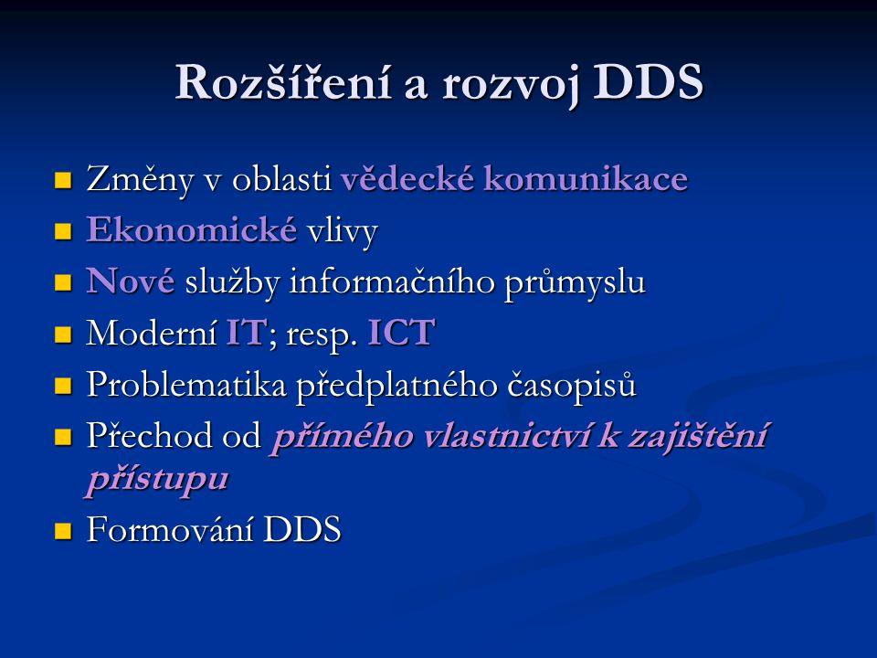 Rozšíření a rozvoj DDS Změny v oblasti vědecké komunikace Změny v oblasti vědecké komunikace Ekonomické vlivy Ekonomické vlivy Nové služby informačníh
