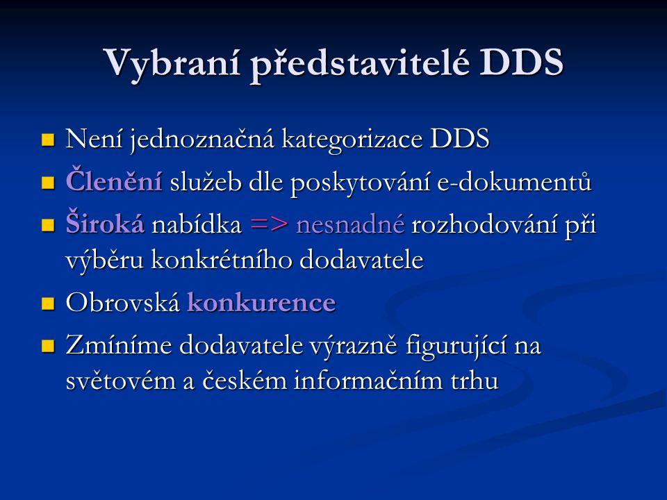 Vybraní představitelé DDS Není jednoznačná kategorizace DDS Není jednoznačná kategorizace DDS Členění služeb dle poskytování e-dokumentů Členění služe