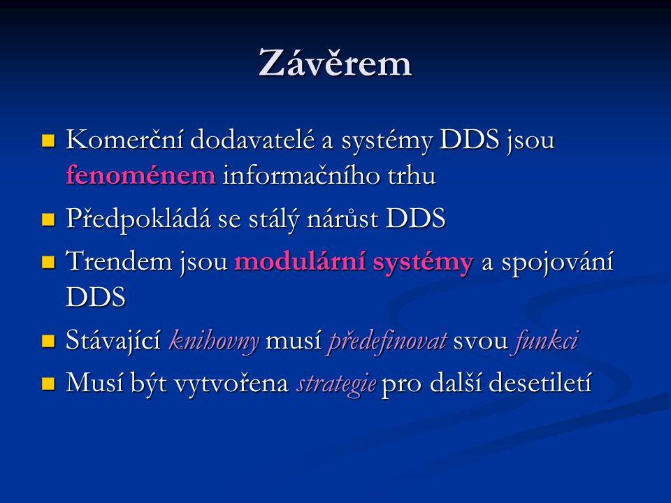 Závěrem Komerční dodavatelé a systémy DDS jsou fenoménem informačního trhu Komerční dodavatelé a systémy DDS jsou fenoménem informačního trhu Předpokl