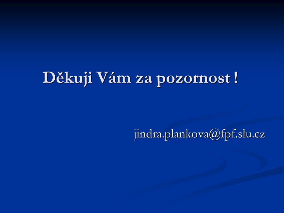 Děkuji Vám za pozornost ! jindra.plankova@fpf.slu.cz