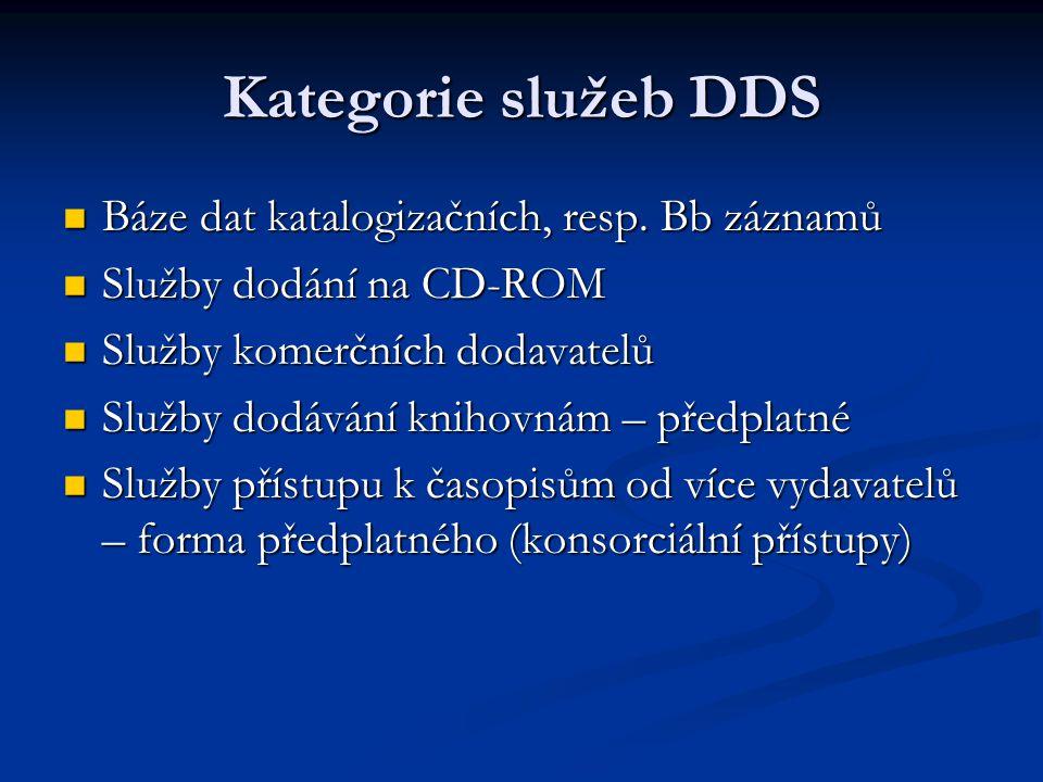 Kategorie služeb DDS Báze dat katalogizačních, resp. Bb záznamů Báze dat katalogizačních, resp. Bb záznamů Služby dodání na CD-ROM Služby dodání na CD