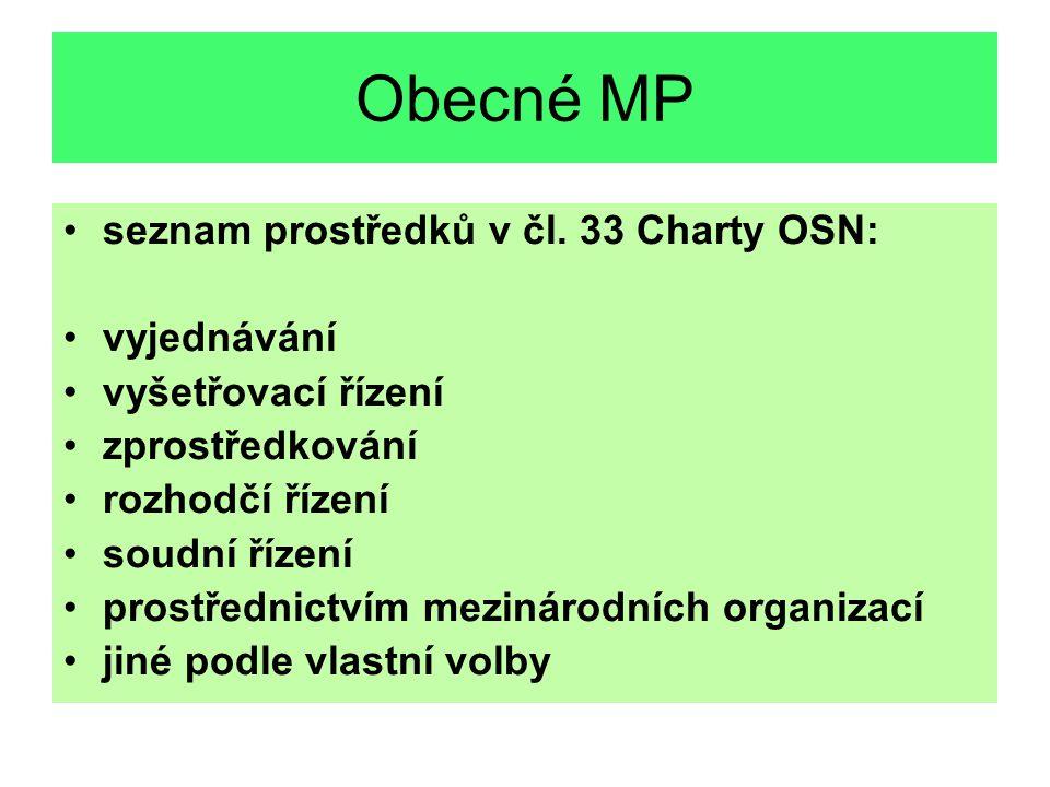 Obecné MP seznam prostředků v čl. 33 Charty OSN: vyjednávání vyšetřovací řízení zprostředkování rozhodčí řízení soudní řízení prostřednictvím mezináro
