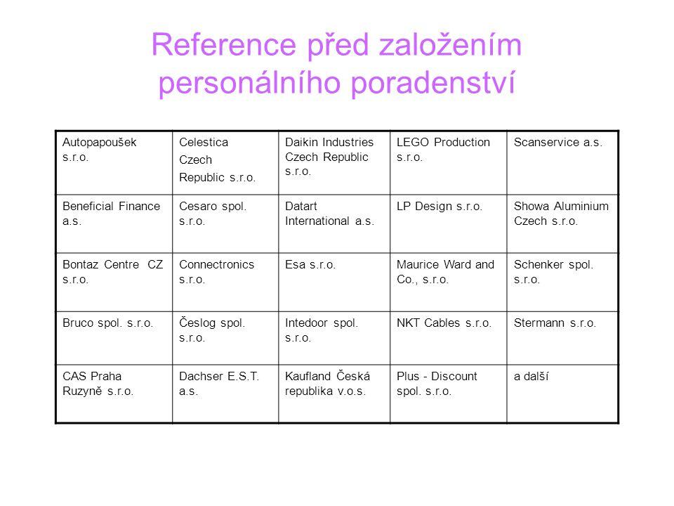 Reference před založením personálního poradenství Autopapoušek s.r.o. Celestica Czech Republic s.r.o. Daikin Industries Czech Republic s.r.o. LEGO Pro