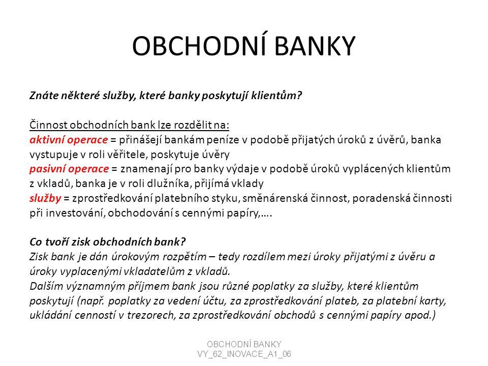 OBCHODNÍ BANKY Znáte některé služby, které banky poskytují klientům.
