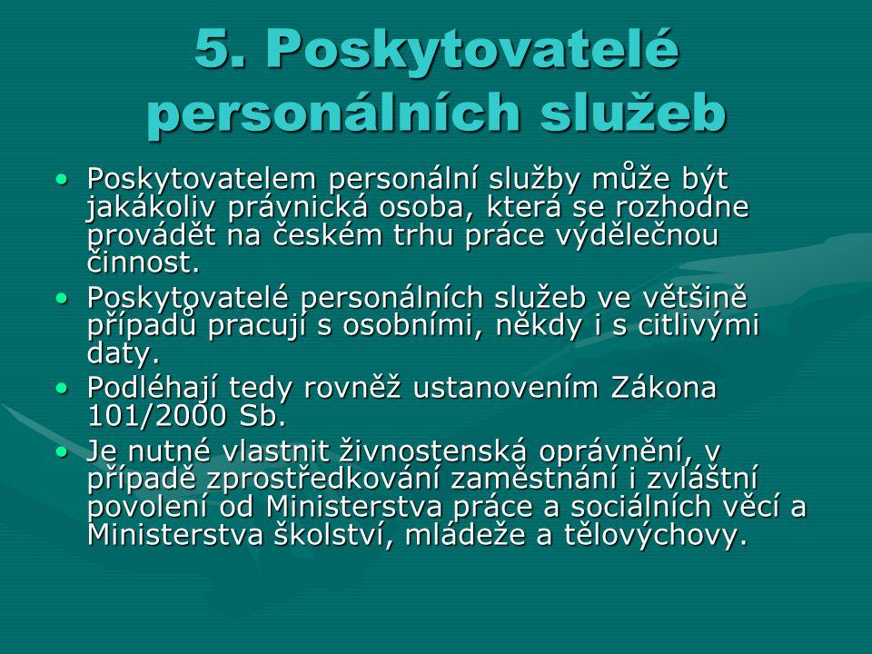 5. Poskytovatelé personálních služeb Poskytovatelem personální služby může být jakákoliv právnická osoba, která se rozhodne provádět na českém trhu pr