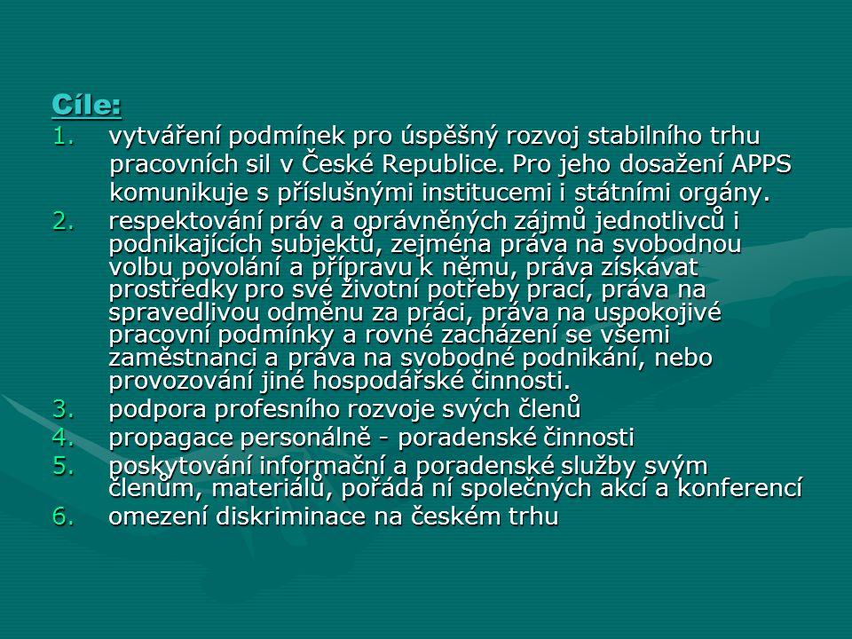 Cíle: 1.vytváření podmínek pro úspěšný rozvoj stabilního trhu pracovních sil v České Republice. Pro jeho dosažení APPS pracovních sil v České Republic