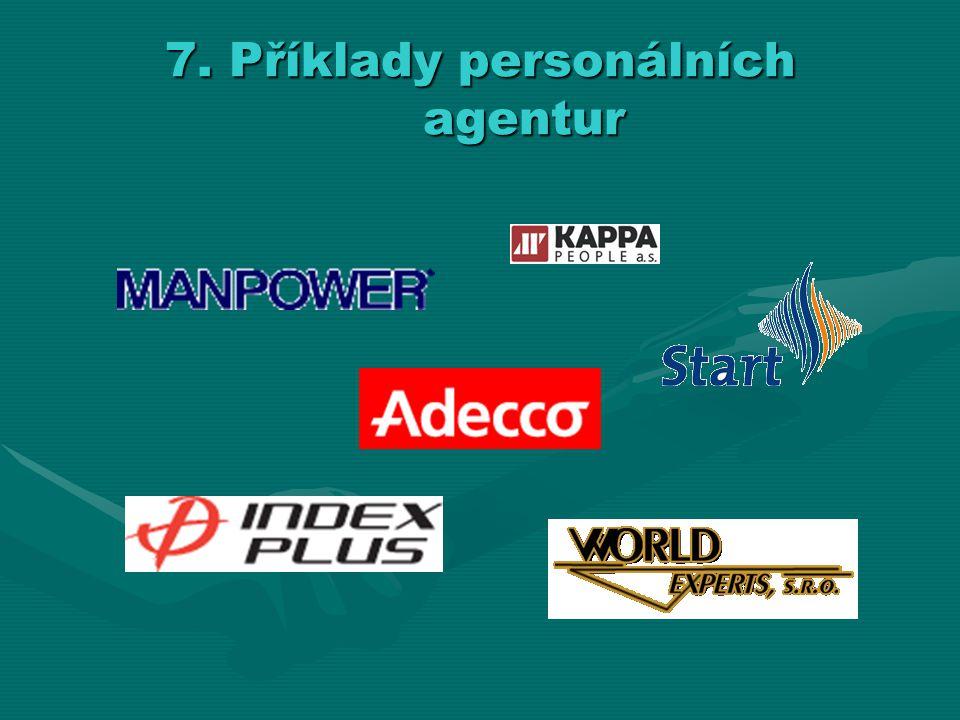 7. Příklady personálních agentur