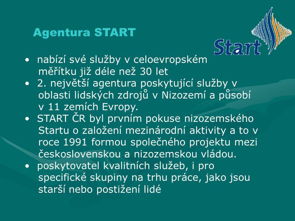 Agentura START nabízí své služby v celoevropském měřítku již déle než 30 let 2. největší agentura poskytující služby v oblasti lidských zdrojů v Nizoz