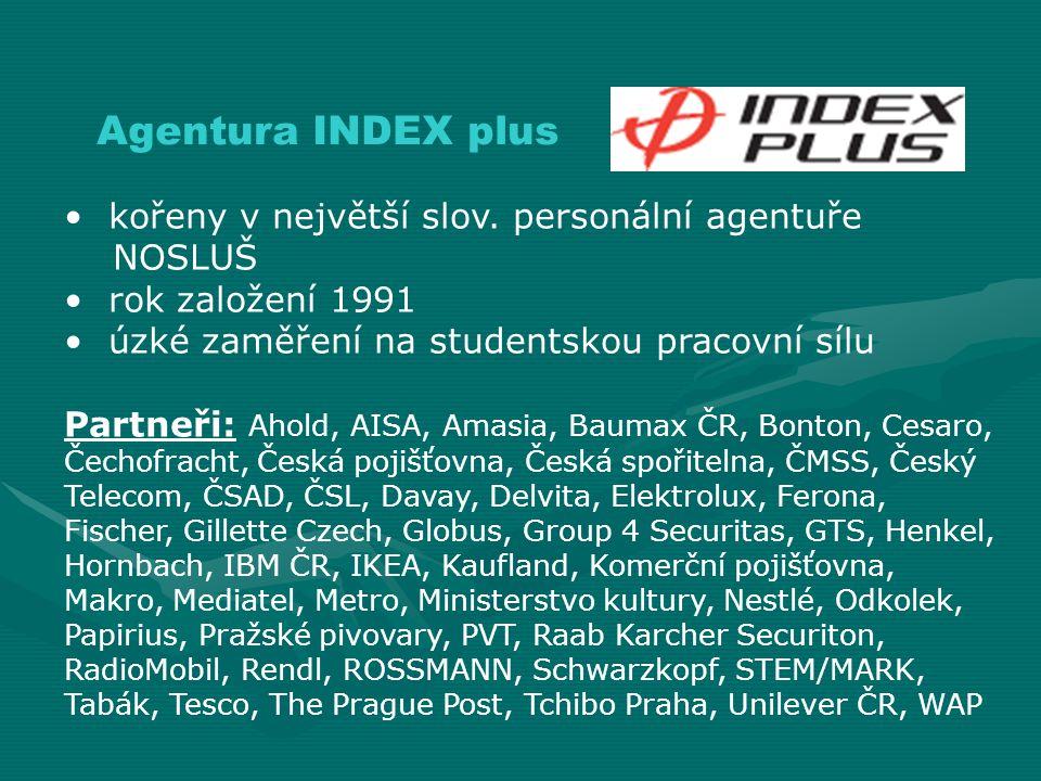 kořeny v největší slov. personální agentuře NOSLUŠ rok založení 1991 úzké zaměření na studentskou pracovní sílu Partneři: Ahold, AISA, Amasia, Baumax