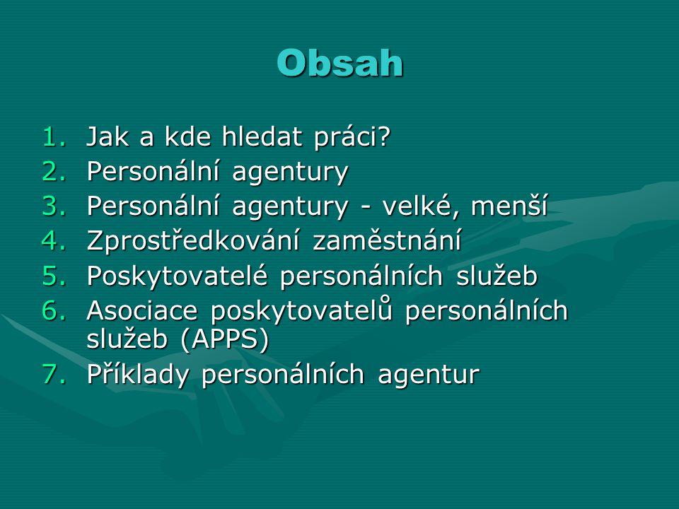 Obsah 1.Jak a kde hledat práci? 2.Personální agentury 3.Personální agentury - velké, menší 4.Zprostředkování zaměstnání 5.Poskytovatelé personálních s