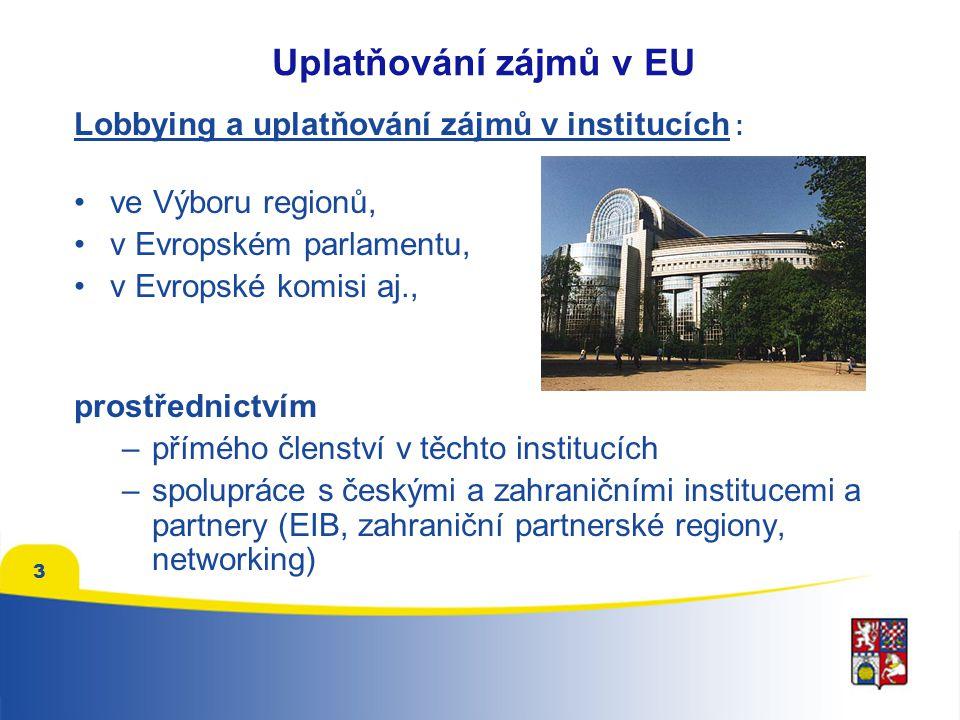 3 Lobbying a uplatňování zájmů v institucích : ve Výboru regionů, v Evropském parlamentu, v Evropské komisi aj., prostřednictvím –přímého členství v těchto institucích –spolupráce s českými a zahraničními institucemi a partnery (EIB, zahraniční partnerské regiony, networking)