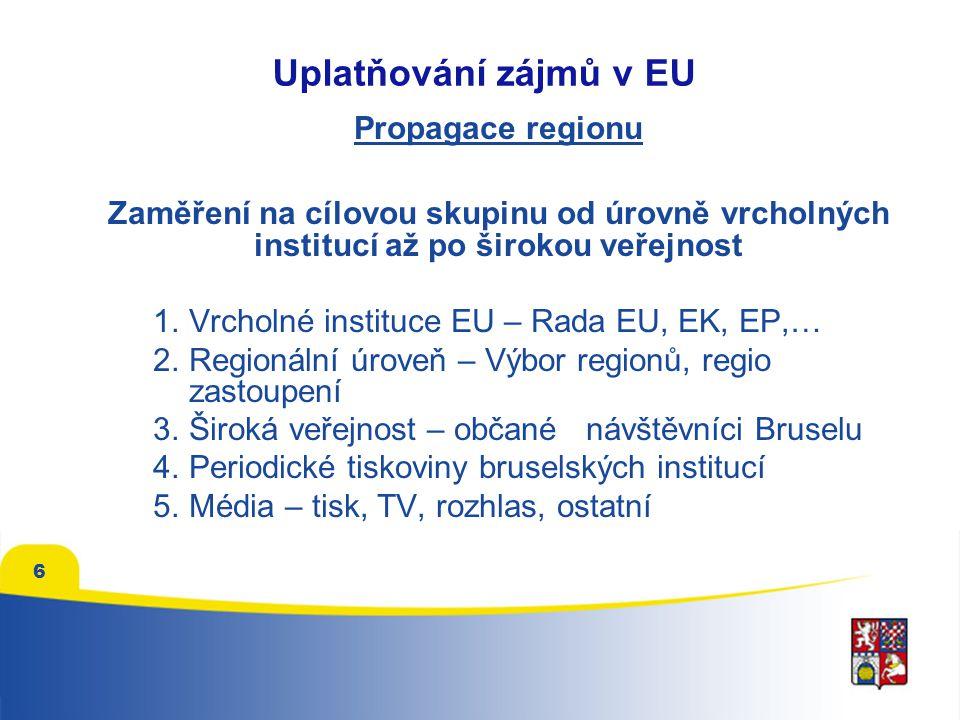 6 Propagace regionu Zaměření na cílovou skupinu od úrovně vrcholných institucí až po širokou veřejnost 1.Vrcholné instituce EU – Rada EU, EK, EP,… 2.Regionální úroveň – Výbor regionů, regio zastoupení 3.Široká veřejnost – občané návštěvníci Bruselu 4.Periodické tiskoviny bruselských institucí 5.Média – tisk, TV, rozhlas, ostatní Uplatňování zájmů v EU
