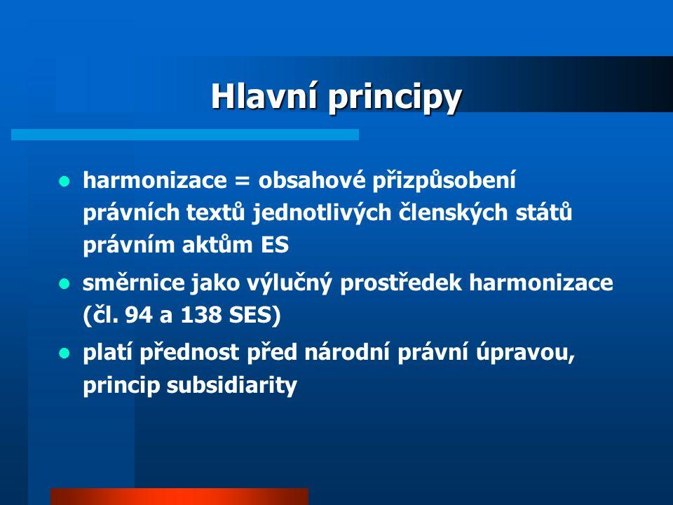 Hlavní principy harmonizace = obsahové přizpůsobení právních textů jednotlivých členských států právním aktům ES směrnice jako výlučný prostředek harmonizace (čl.