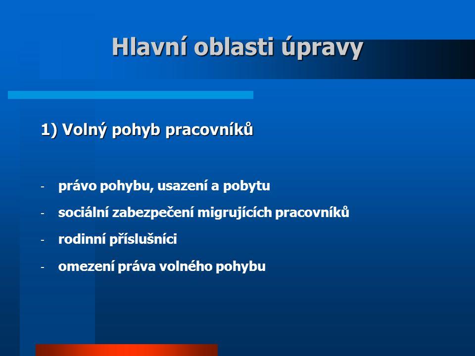 Hlavní oblasti úpravy 1) Volný pohyb pracovníků - právo pohybu, usazení a pobytu - sociální zabezpečení migrujících pracovníků - rodinní příslušníci - omezení práva volného pohybu