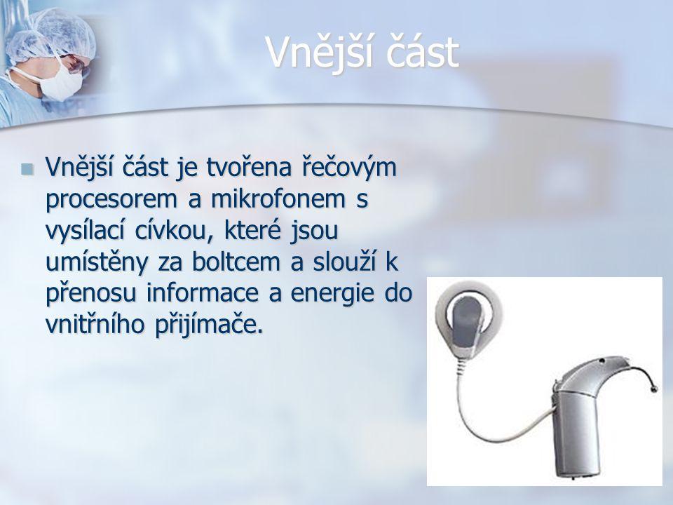 Vnější část Vnější část je tvořena řečovým procesorem a mikrofonem s vysílací cívkou, které jsou umístěny za boltcem a slouží k přenosu informace a en