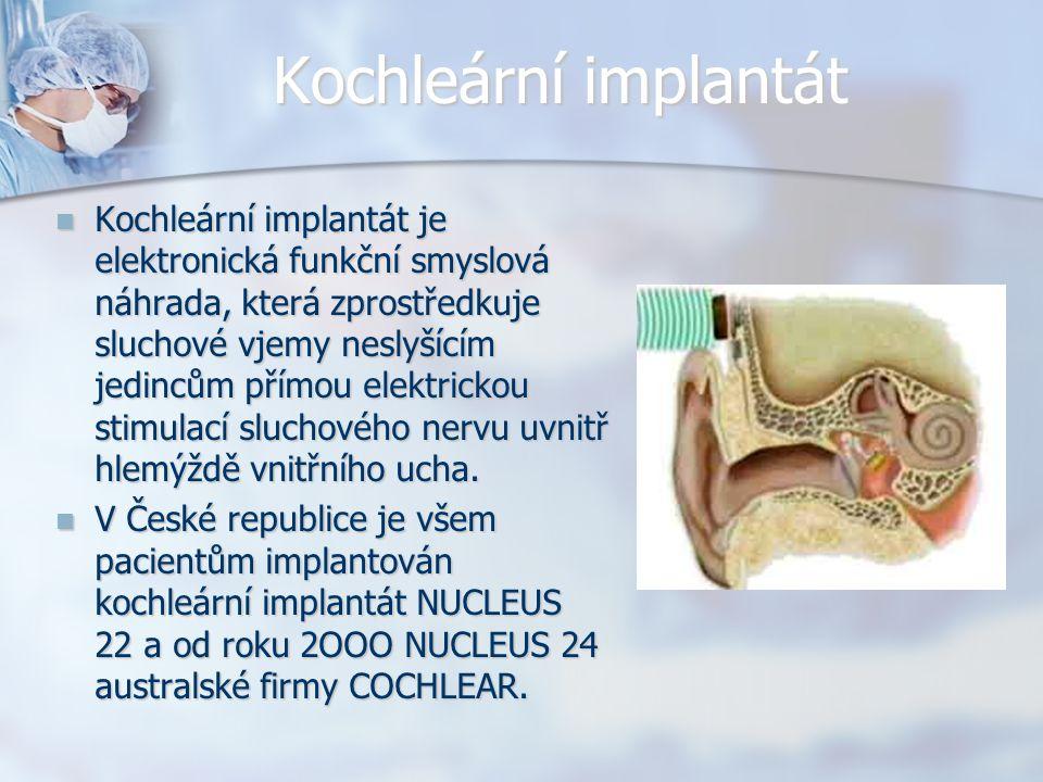 Kochleární implantát Kochleární implantát je elektronická funkční smyslová náhrada, která zprostředkuje sluchové vjemy neslyšícím jedincům přímou elek