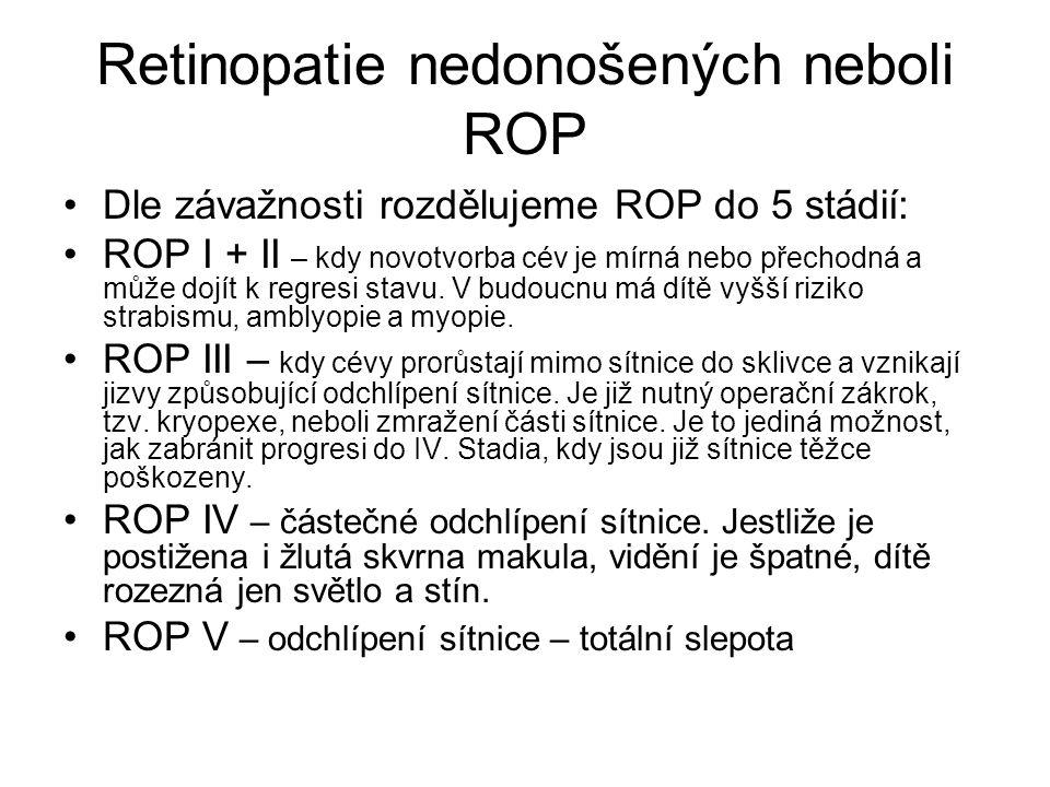 Retinopatie nedonošených neboli ROP Dle závažnosti rozdělujeme ROP do 5 stádií: ROP I + II – kdy novotvorba cév je mírná nebo přechodná a může dojít k