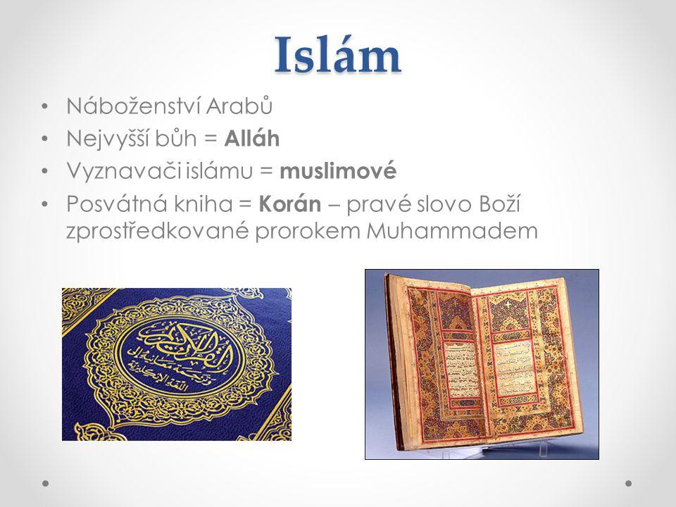 Islám Náboženství Arabů Nejvyšší bůh = Alláh Vyznavači islámu = muslimové Posvátná kniha = Korán – pravé slovo Boží zprostředkované prorokem Muhammade