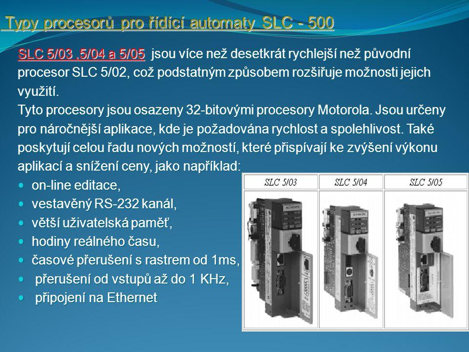 SLC 5/03,5/04 a 5/05 jsou více než desetkrát rychlejší než původní procesor SLC 5/02, což podstatným způsobem rozšiřuje možnosti jejich využití.