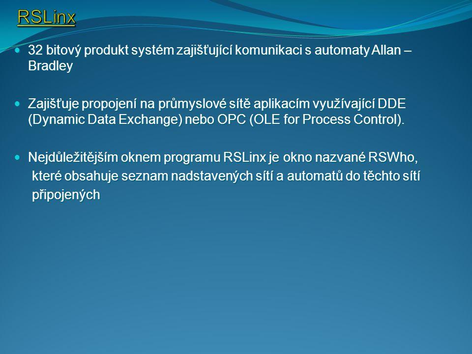 32 bitový produkt systém zajišťující komunikaci s automaty Allan – Bradley 32 bitový produkt systém zajišťující komunikaci s automaty Allan – Bradley Zajišťuje propojení na průmyslové sítě aplikacím využívající DDE (Dynamic Data Exchange) nebo OPC (OLE for Process Control).