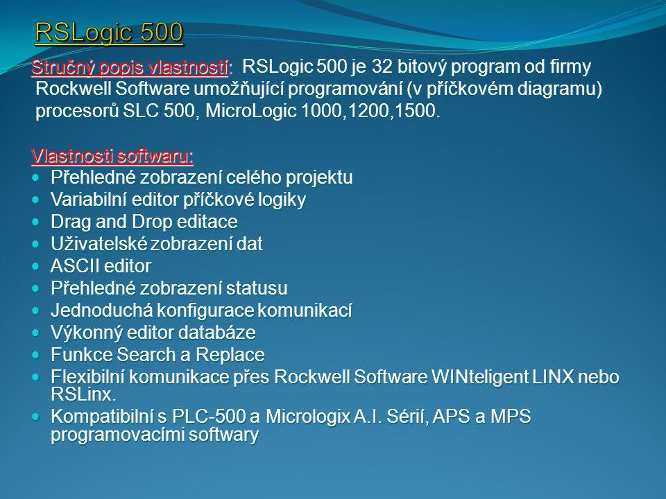 Stručný popis vlastností: RSLogic 500 je 32 bitový program od firmy Rockwell Software umožňující programování (v příčkovém diagramu) Rockwell Software umožňující programování (v příčkovém diagramu) procesorů SLC 500, MicroLogic 1000,1200,1500.