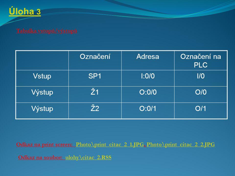 Úloha 3 Tabulka vstupů/výstupů Odkaz na print screen: Photo\print_citac_2_1.JPG, Photo\print_citac_2_2.JPGPhoto\print_citac_2_1.JPGPhoto\print_citac_2_2.JPG Odkaz na soubor: ulohy\citac_2.RSSulohy\citac_2.RSS OznačeníAdresaOznačení na PLC VstupSP1I:0/0I/0 VýstupŽ1O:0/0O/0 VýstupŽ2O:0/1O/1