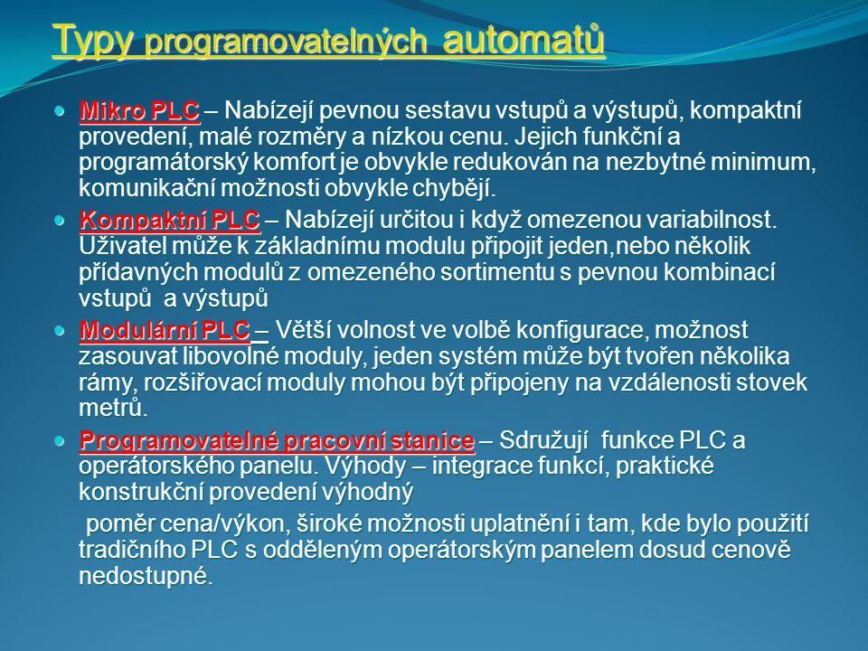 Programovatelný automat se skládá: Centrální procesorové jednotky Centrální procesorové jednotky Systémové paměti Systémové paměti Uživatelské paměti Uživatelské paměti Vstupních a výstupních jednotek pro připojení řízeného systému Vstupních a výstupních jednotek pro připojení řízeného systému Komunikačních jednotek pro komunikaci se souřadnými i nadřazenými řídícími systémy Komunikačních jednotek pro komunikaci se souřadnými i nadřazenými řídícími systémy Navzájem jsou propojeny systémovou sběrnicí Navzájem jsou propojeny systémovou sběrnicí