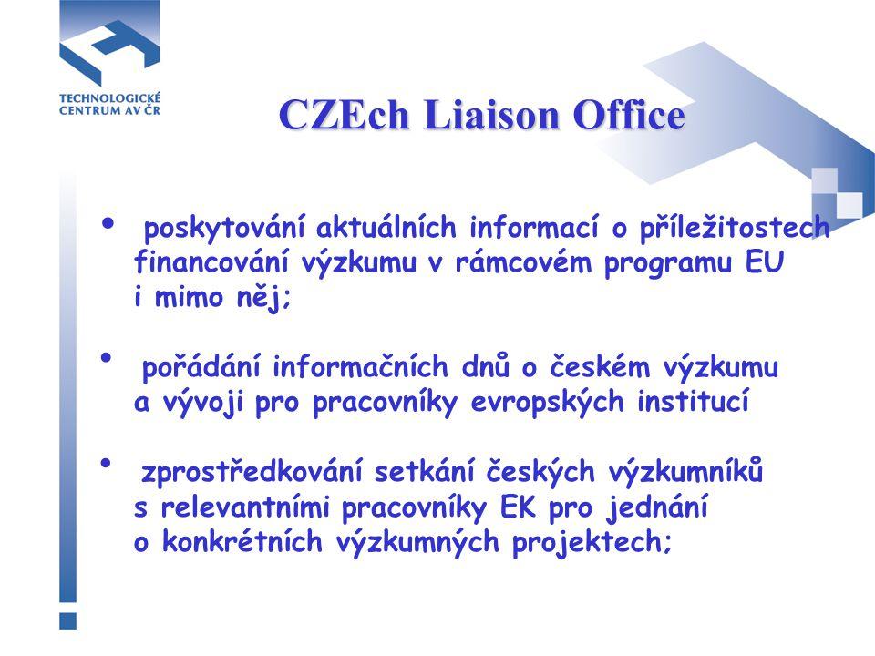 CZEch Liaison Office poskytování aktuálních informací o příležitostech financování výzkumu v rámcovém programu EU i mimo něj; pořádání informačních dnů o českém výzkumu a vývoji pro pracovníky evropských institucí zprostředkování setkání českých výzkumníků s relevantními pracovníky EK pro jednání o konkrétních výzkumných projektech;