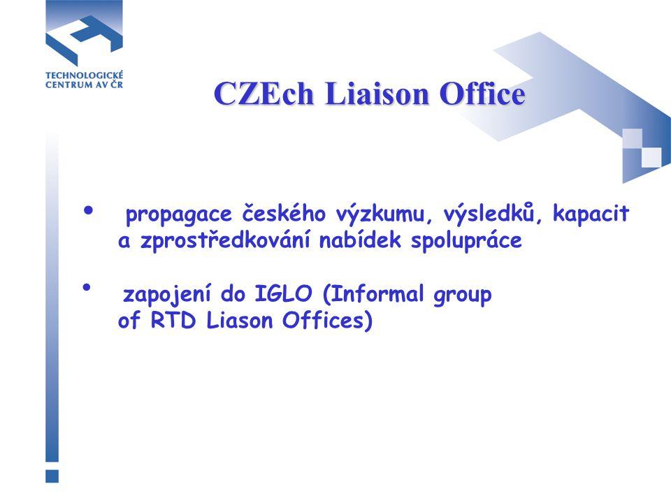 CZEch Liaison Office propagace českého výzkumu, výsledků, kapacit a zprostředkování nabídek spolupráce zapojení do IGLO (Informal group of RTD Liason Offices)