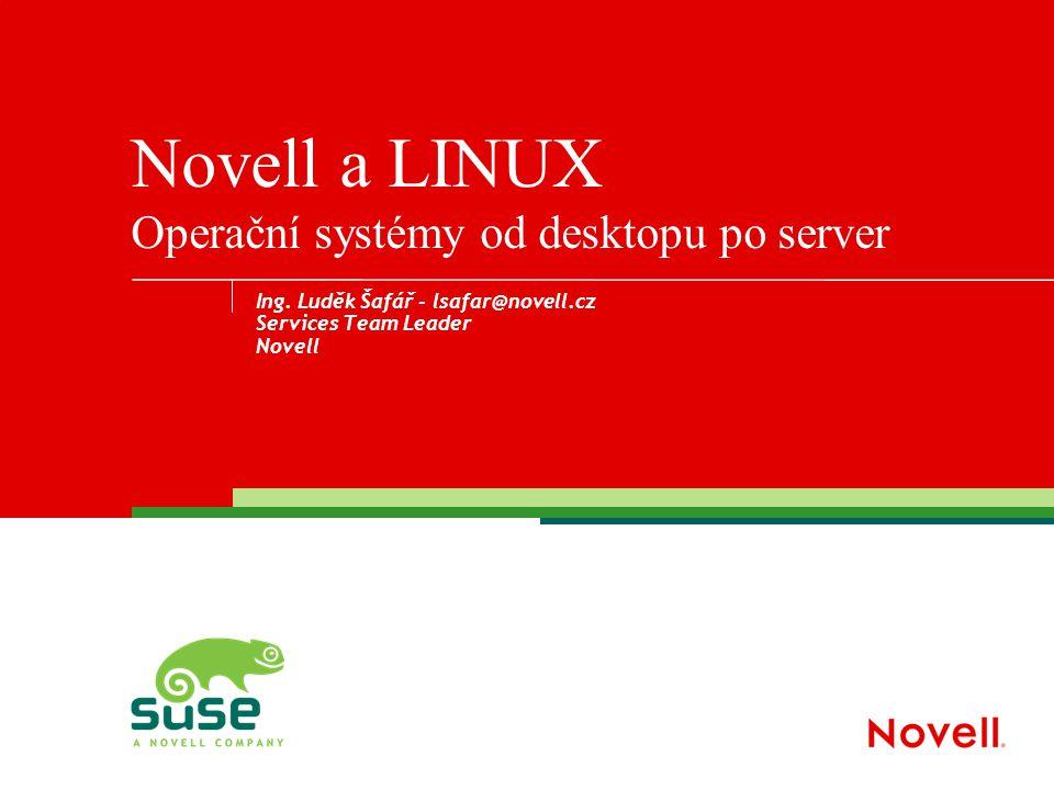 Ing. Luděk Šafář - lsafar@novell.cz Services Team Leader Novell Novell a LINUX Operační systémy od desktopu po server